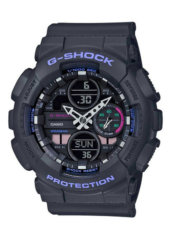 CASIO G SHOCK DUO MID SIZE BLACK & PURPLE GMAS140-8A