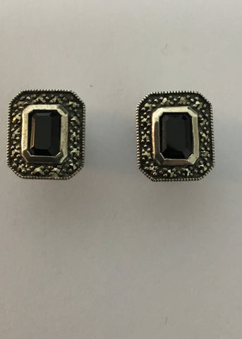 MARCASITE STERLING SILVER ANTIQUE RECTANGLE ONYX EARRINGS 43-236ON