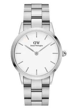 DANIEL WELLINGTON ICONIC LINK 36MM WHITE STAINLESS STEEL DW00100203