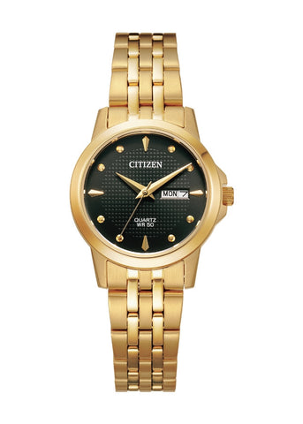 CITIZEN QUARTZ LADIES BLACK DIAL GOLD BRACELET EQ0603-59F