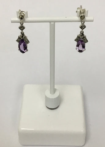 MARCASITE STERLING SILVER ANTIQUE OVAL AMETHYST DROP EARRING 43-258AM