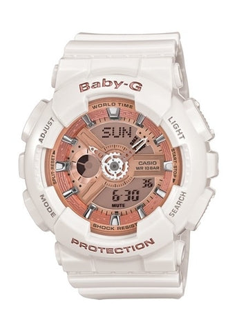 CASIO BABY G DIGITAL / ANALOGUE BRASS/PINK DIAL W BA110-7A1