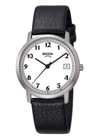 BOCCIA GENTS TITANIUM LEATHER STRAP 3617-01