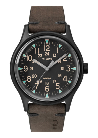 TIMEX GENTS MK1 BLACK DIAL, BROWN LEATHER STRAP TW2R96900