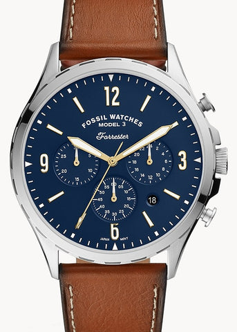 FOSSIL GENTS FORRESTER CHRONOGRAPH BLUE DAIL TAN LEATHER FS5607