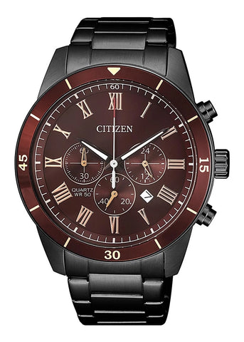 CITIZEN QUARTZ GENTS CHRONOGRAPH BURGUNDY DIAL AN8167-53X