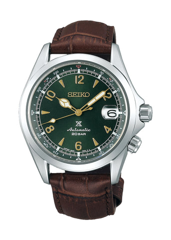 SEIKO PROSPEX ALPINIST AUTOMATIC GREEN DIAL BROWN LEATHER SPB121J