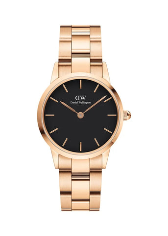 DANIEL WELLINGTON ICONIC LINK 28MM BLACK ROSE GOLD DW00100214
