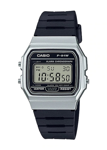 CASIO GENTS RETRO DIGITAL WATCH SILVER & BLACK F91WM-7A