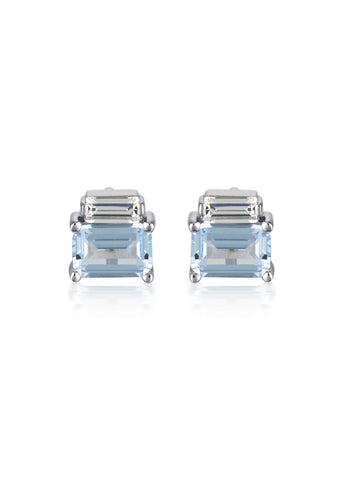 GEORGINI EMILIO AQUA SPINEL CZ RHODIUM 3MILS EARRINGS IE849BL