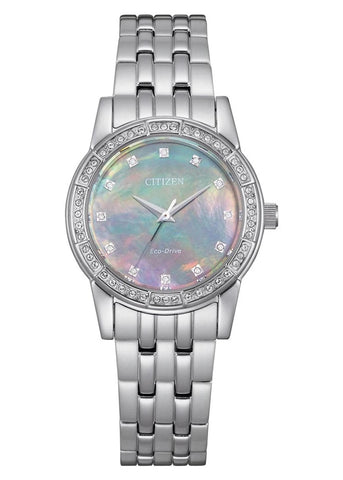 CITIZEN LADIES ECO-DRIVE CRYSTAL SET STAINLESS STEEL EM0770-52Y