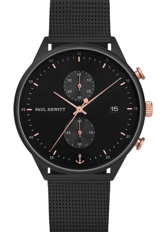 PAUL HEWITT BLACK SUNRAY CHRONOGRAPH BLACK MESH PH-C-B-BSR-5M