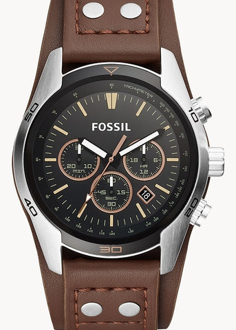 FOSSIL GENTS COACHMAN CHRONOGRAPH BROWN CUFF LEATHER STRAP CH2891