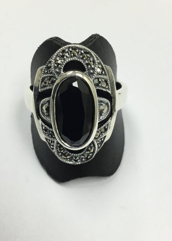 MARCASITE STERLING SILVER ANTIQUE STYLE LARGE OVAL ONYX RING 18-112ONMC