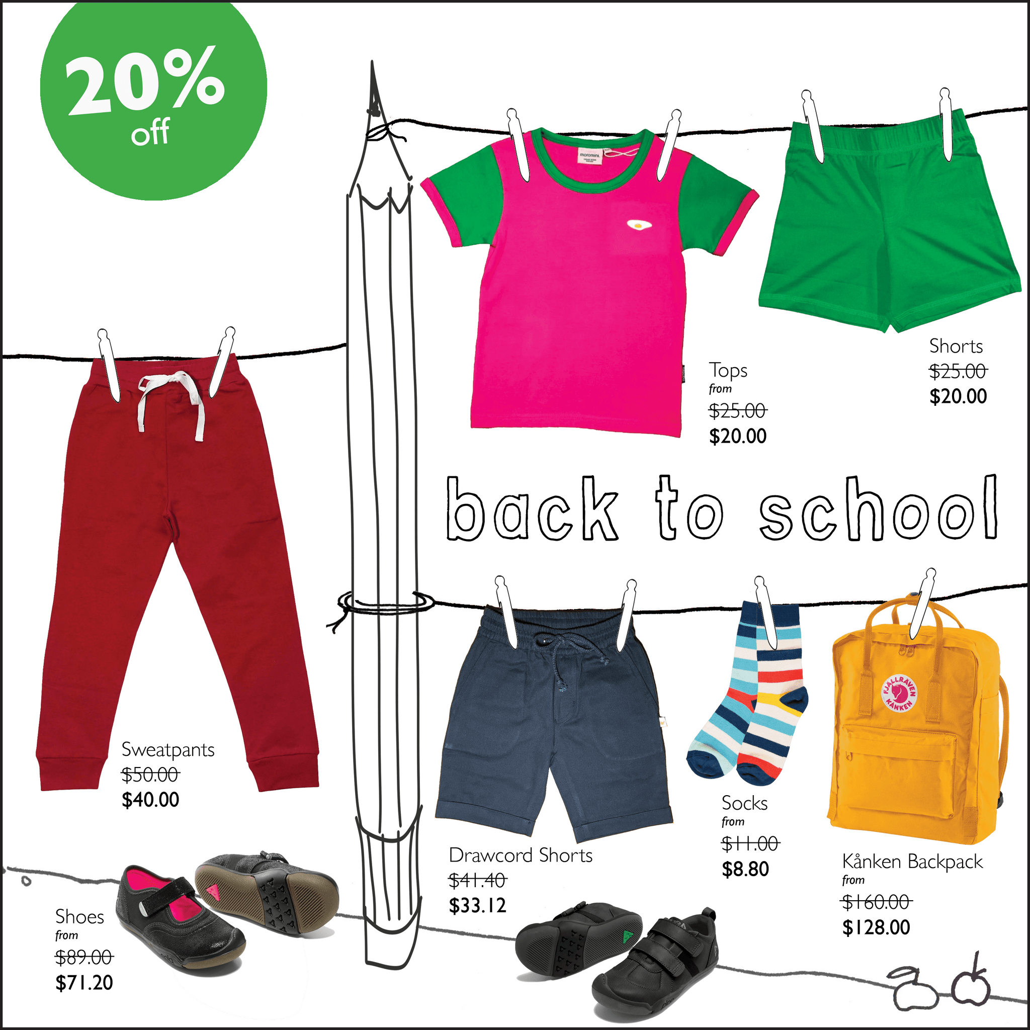Our back to school sale offers 20% off a selected range of quality shoes, backpacks and clothing - all the things you need to kick off a new year at school