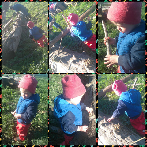 Playing in the Mud and collecting wood