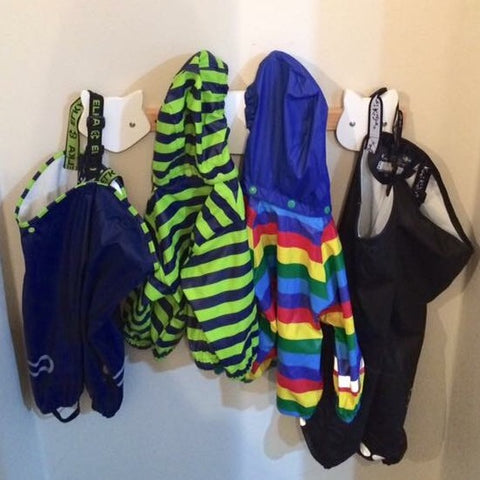 Elka and Kozi Kidz Rainwear Hanging Up