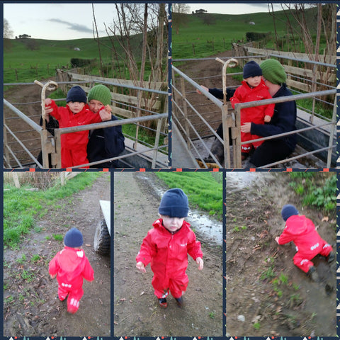Kozi Kidz Rainwear on the Farm