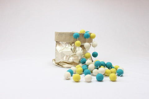 Ball Garland - Aqua, Yellow & White