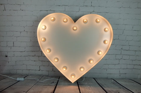 Vintage Marquee Light - Heart 15""