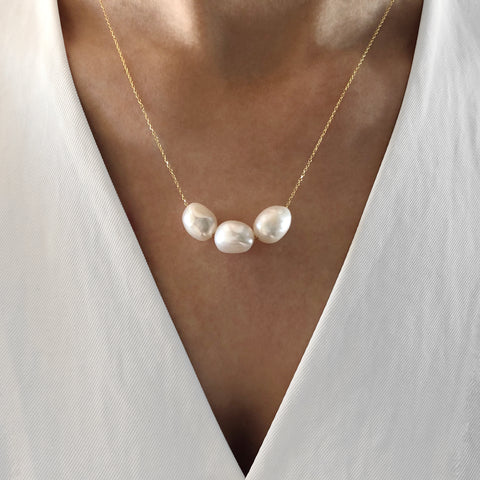Baroque Triple Pearl Necklace