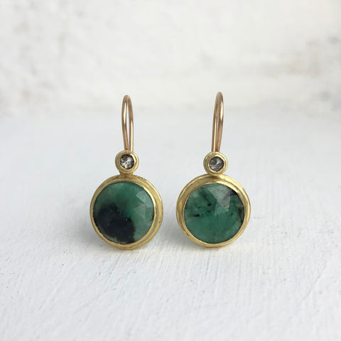 Grey Diamond & Natural Emerald Earrings