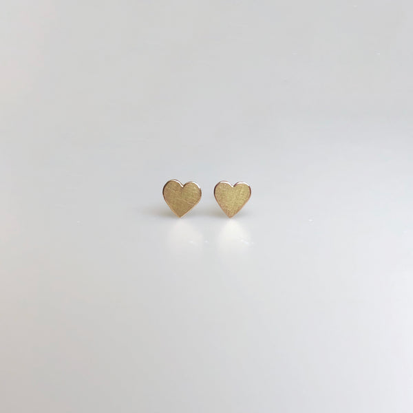 Heart stud earrings in reclaimed 14k gold, small