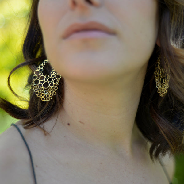Large ring drop earrings