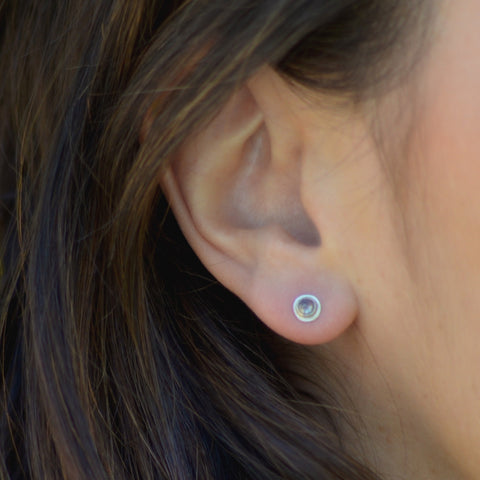 Dark grey raw diamond white gold studs