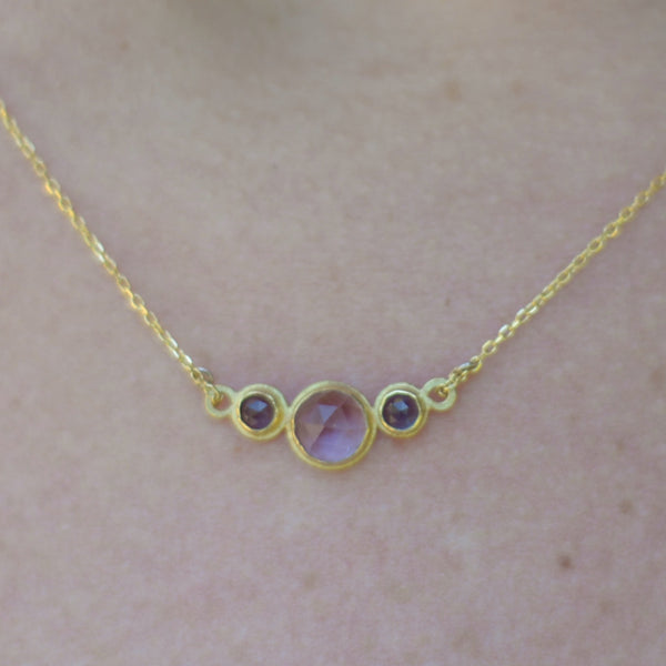 Three stone amethyst iolite necklace