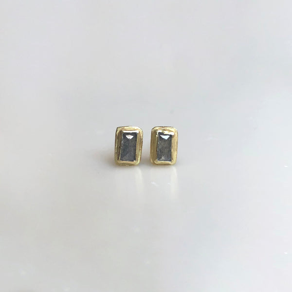 Grey baguette diamond studs