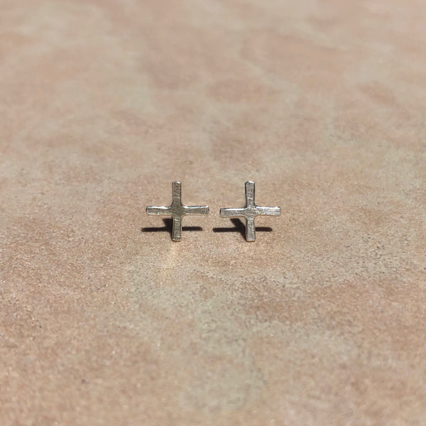 Positive stud earrings in sterling silver, medium