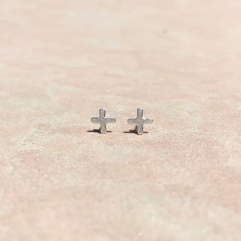 Positive stud earrings in sterling silver, small