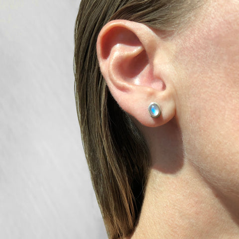Small oval moonstone studs in sterling silver