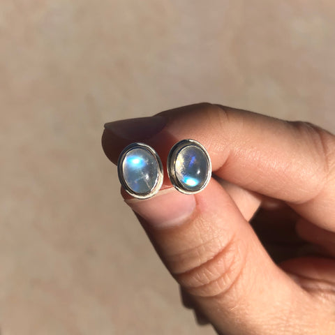 Large oval moonstone studs in sterling silver