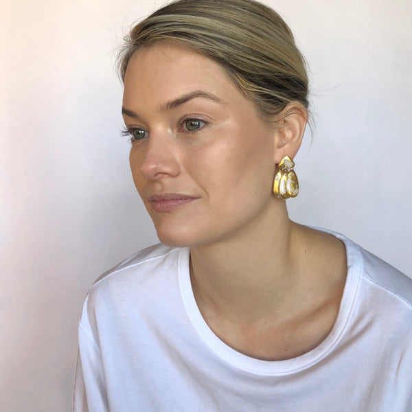 Small Three Tassel Earrings, 18k Gold Leaf Splash