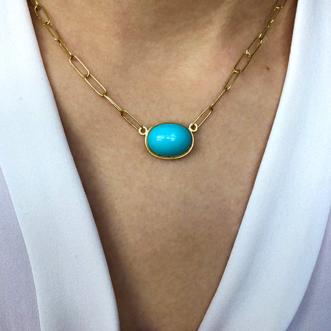 Natural Sleeping Beauty Turquoise and 18k Handmade Chain Necklace