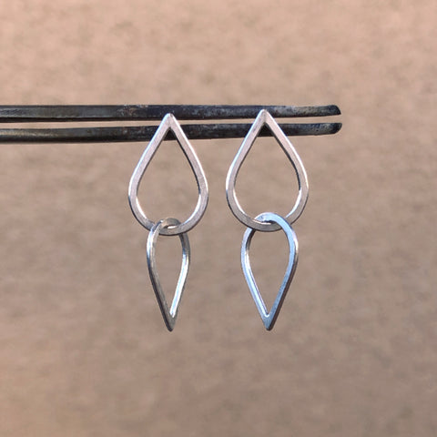 Double droplet earrings in sterling silver