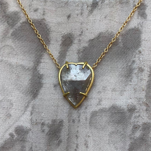 1.4 ct Heart-shaped Grey Diamond Necklace