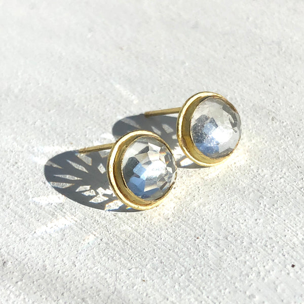 Large white topaz studs