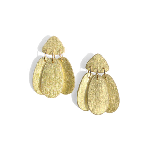 Small Three Tassel Earring, 18k Gold Leaf Solid