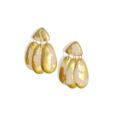 Small Three Tassel Earrings, 22k Gold Leaf Splash