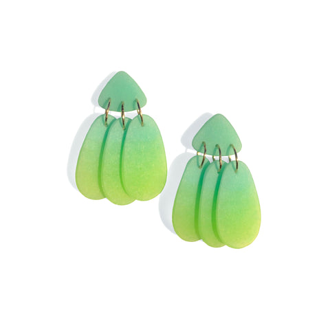 Small Three Tassel Earring, Aqua Green - Lime Green