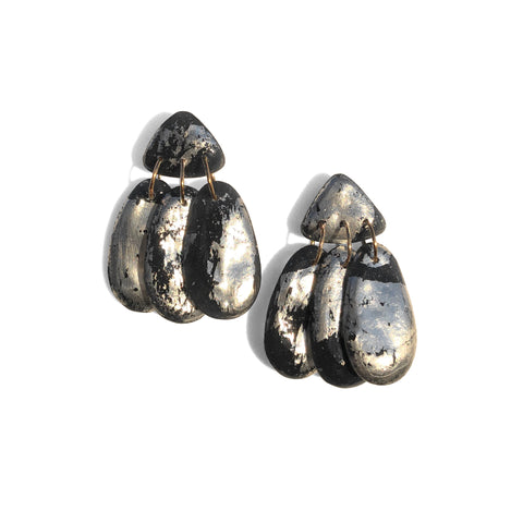 Small Three Tassel Earring, Silver Leaf Splash