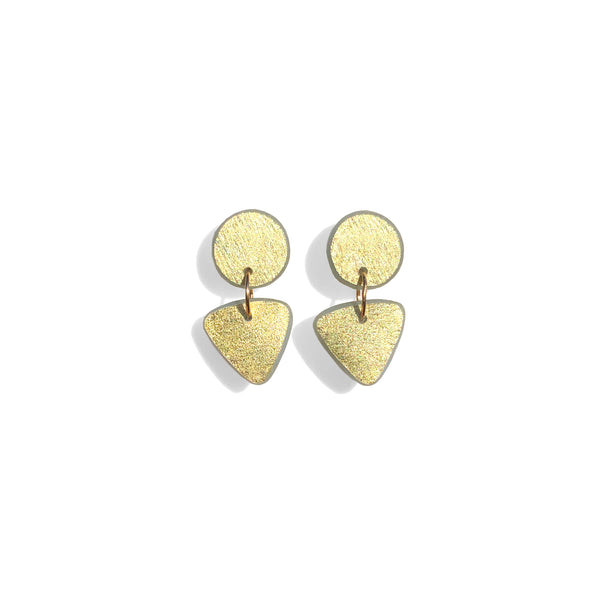 Small Circle Tri Drop Earrings, 18k Gold Leaf Solid