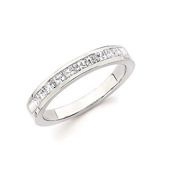 1/10 Ctw. Channel Set 10 Stone Princess Cut Diamond Anniversary Band In 14K Gold