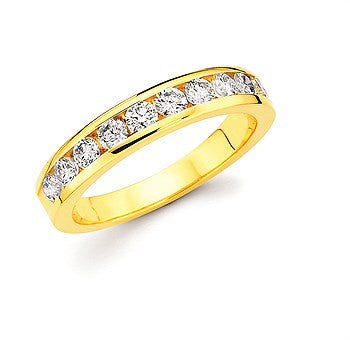 3/4 Ctw. Channel Set 10 Stone Diamond Anniversary Band In 14K Gold