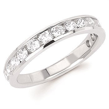 1 Ctw. Channel Set 14 Stone Diamond Anniversary Band In 14K Gold
