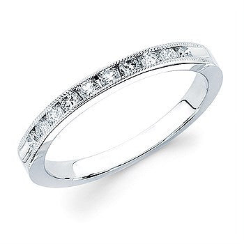 1/4 Ctw. Channel Set 10 Stone Diamond Milgrain Anniversary Band In 14K Gold