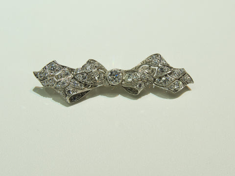 2.03ctw Diamond Platinum Filigree Bow Brooch